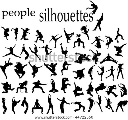 high quality traced dancing jumping  people silhouettes