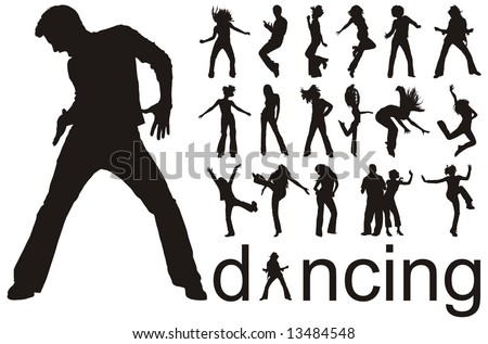 high quality traced dancing people silhouettes vector illustration - stock vector