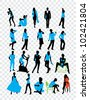 High quality traced posing people silhouettes - stock vector