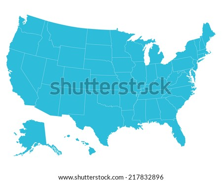 High Quality United States Map America Stock Vector - Us map that can be colored