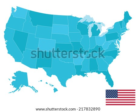 High quality United States map of America with Flag. Each city and border has separately, and can be colored as desired. - stock vector
