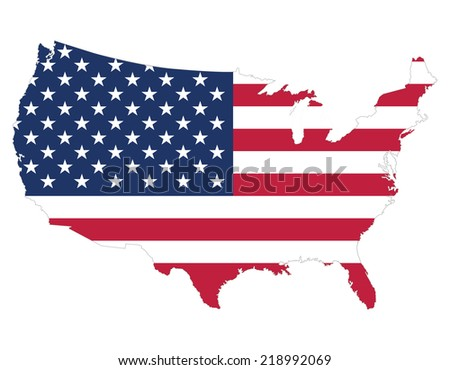 High Quality United States Map Of America With Flag Style Border Of Map Has Separately