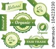 High quality vector design elements for Natural, Certified Organic, Eco, and Fair Trade packaging labels, stickers, or badges. Hassle-free objects are neatly organized in layers and groups. EPS10. - stock vector