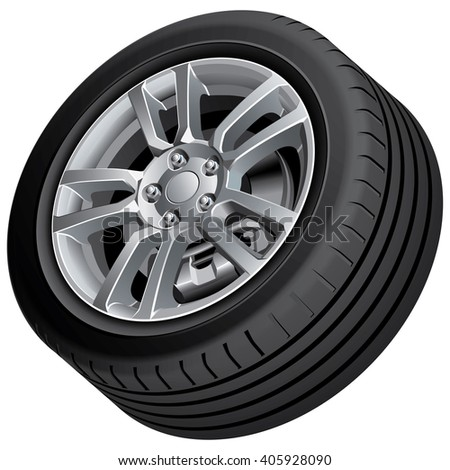 High quality vector illustration of automobile wheel, isolated on white background. File contains gradients, blends and transparency. No strokes. Easily edit: file is divided into logical groups. - stock vector