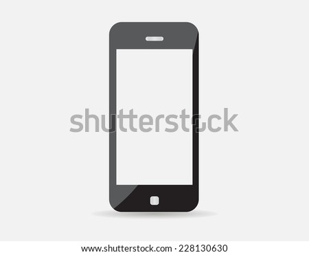 High quality vector illustration of modern technology device - mobile phone mockup with blank screen. Smart phone isolated on white background. EPS10 - stock vector