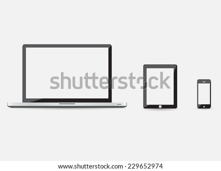 High quality vector illustration set of modern technology devices - computer monitor, laptop, digital tablet and mobile phone with blank screen. Isolated on white background. EPS10 - stock vector