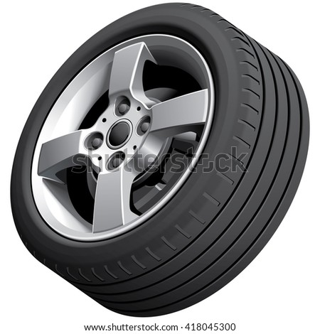 High quality vector image of alloy wheel, isolated on white background. File contains gradients, blends and transparency. No strokes. - stock vector