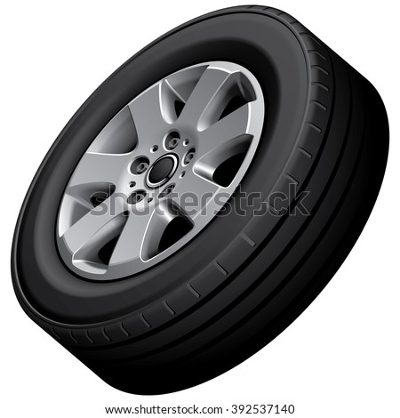 High quality vector image of automotive wheel, isolated on white background. File contains gradients, blends and transparency. No strokes. - stock vector