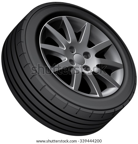 High quality vector image of car's wheel, isolated on white background. File contains gradients, blends and transparency. No strokes. - stock vector