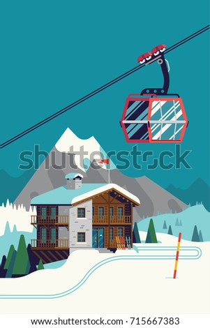 High quality vector ski resort mountain landscape with lodge and aerial tramway or cable car gondola. Winter sports vacation destination concept