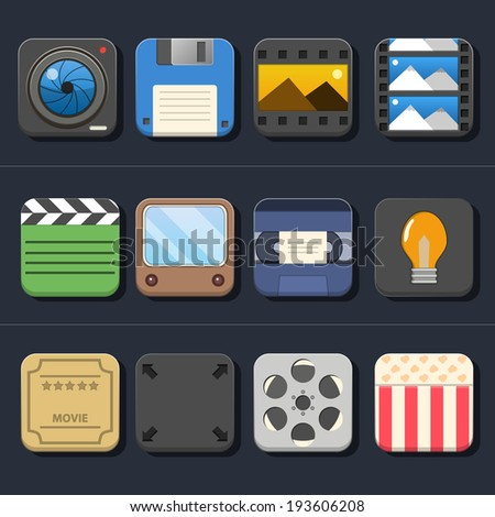 High Quality Video Movie Icon Set - stock vector