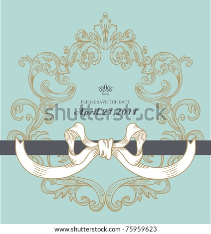 high quality vintage blue card with a cute ribbon - best for wedding invitation card - stock vector