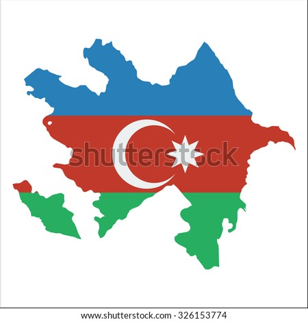 High resolution Azerbaijan map with country flag. Flag of the Azerbaijan  overlaid on detailed outline map isolated on white background