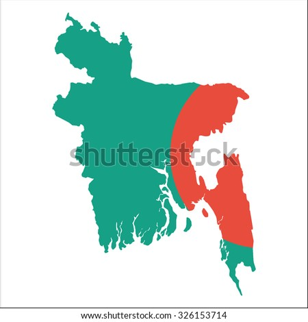 High resolution Bangladesh map with country flag. Flag of the Bangladesh  overlaid on detailed outline map isolated on white background