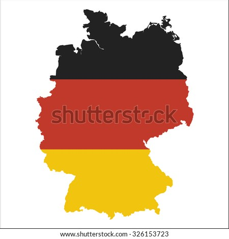 High resolution Germany map with country flag. Flag of the Germany  overlaid on detailed outline map isolated on white background