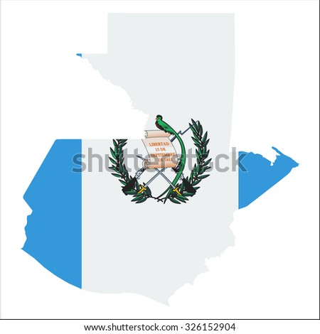 High resolution Guatemala map with country flag. Flag of the Guatemala  overlaid on detailed outline map isolated on white background - stock vector