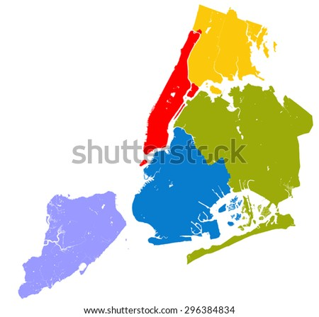 High resolution outline map of New York City with NYC boroughs. Each boroughs placed on a separate layer. - stock vector