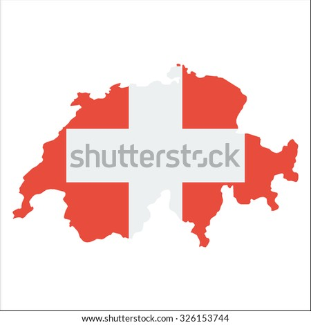 High resolution Switzerland map with country flag. Flag of the Switzerland  overlaid on detailed outline map isolated on white background