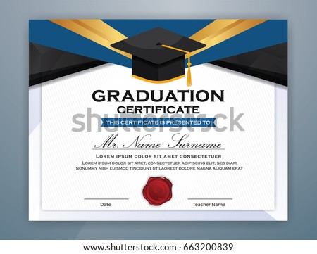 High School Diploma Certificate Template Design Stock Vector