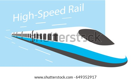 High speed bullet train coming out, modern flat design, vector illustration