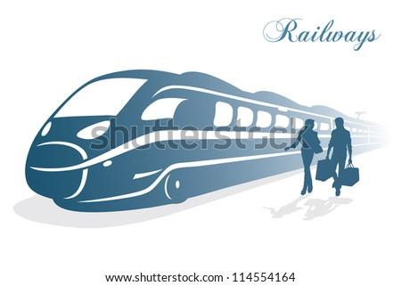 High speed train background - vector illustration - stock vector