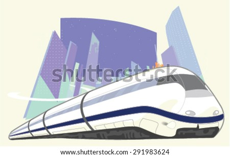 High-speed train on the background of the city. Vector - stock vector