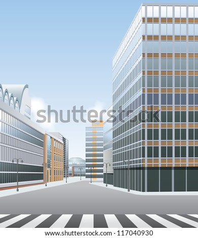 High street, business or shopping centre vector - stock vector