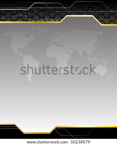 High-tech black background with earth map. Clip-art - stock vector