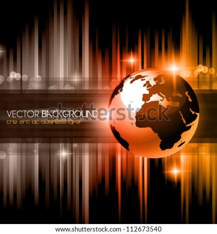 High Tech business background for presentation flyer or corporate advertisement brochures with a 3D earth and glowing star lights. - stock vector