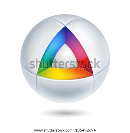 high tech colorful abstract icon - 3d vector - stock vector