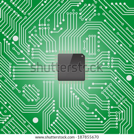High tech electronic circuit board with processor on green background ,Vector illustration