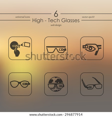 high-tech glasses modern icons for mobile interface on blurred background - stock vector
