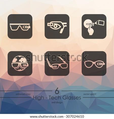 high-tech glasses modern icons for mobile interface on triangle background - stock vector