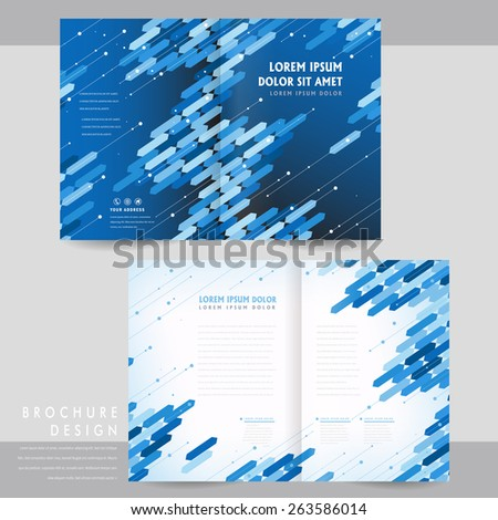high-tech half-fold brochure template design with blue geometric elements - stock vector