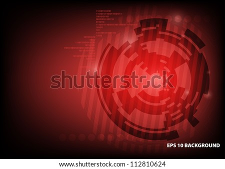 High-tech red background - stock vector