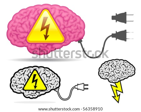High voltage brain collection with connector plug - vector - stock vector