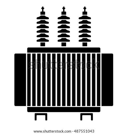 High Voltage Electrical Transformer Black Symbol Stock-vektorgrafik ...