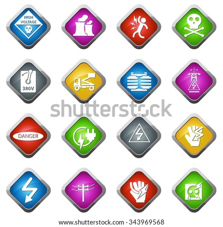 High voltage glossy web icon set