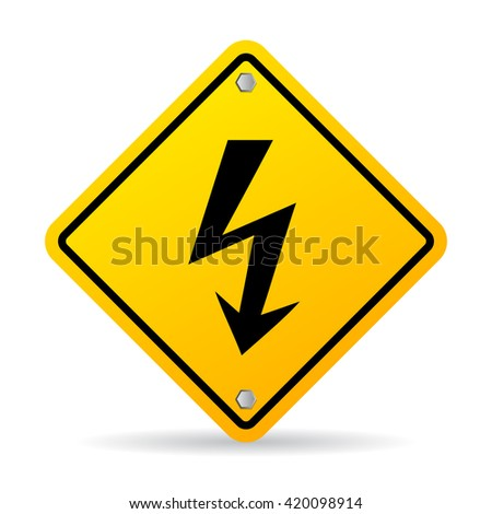 High voltage lightning warning sign vector illustration isolated on white background - stock vector