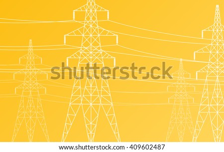 High voltage power line grid vector yellow background