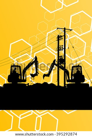 High voltage power lines construction site silhouette with heavy land moving excavator equipment and engineers in industrial concept background vector illustration - stock vector