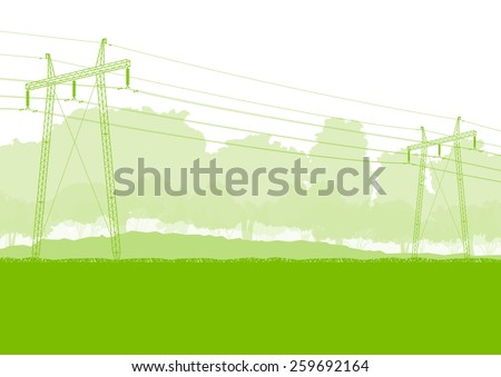 High voltage power transmission tower line green ecology energy concept - stock vector