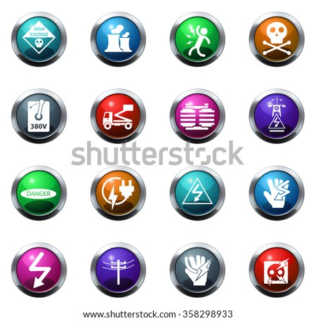 High voltage round glossy web icon set