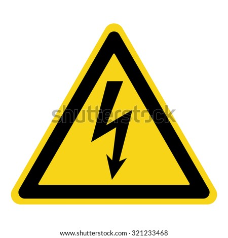 High Voltage Sign. Danger symbol. Black arrow isolated in yellow triangle on white background. Warning icon. Vector illustration  - stock vector