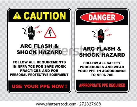 high voltage sign or electrical safety sign (arc flash and shock hazard follow al requirements for safe work practices, appropriate ppe required). - stock vector