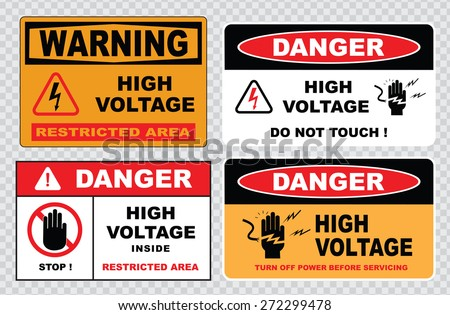 high voltage sign or electrical safety sign (danger hazard of severe electrical shock or burn, high voltage keep away, do not touch) - stock vector