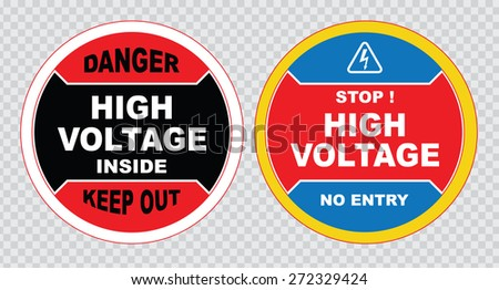 high voltage sign or electrical safety sign (danger high voltage inside  keep out, stop high voltage no entry). - stock vector