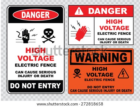 high voltage sign or electrical safety sign (high voltage electric fence can cause serious injury or death, do not entry, skull) - stock vector