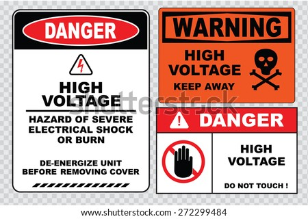 high voltage sign or electrical safety sign  (warning high voltage restricted area, danger high voltage do not touch, danger high voltage inside restricted area stop, turn off power before servicing) - stock vector