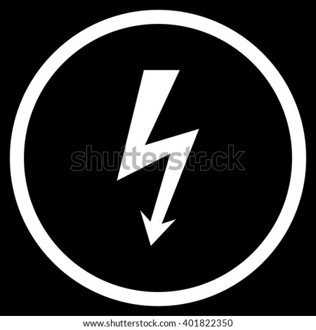 Image Voltage Lightning Black Circle Isolated Stock Vector ...